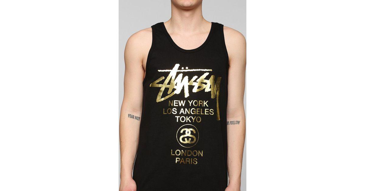 21ddc8f2b90140 Lyst - Stussy Gold Print Tank Top in Black for Men