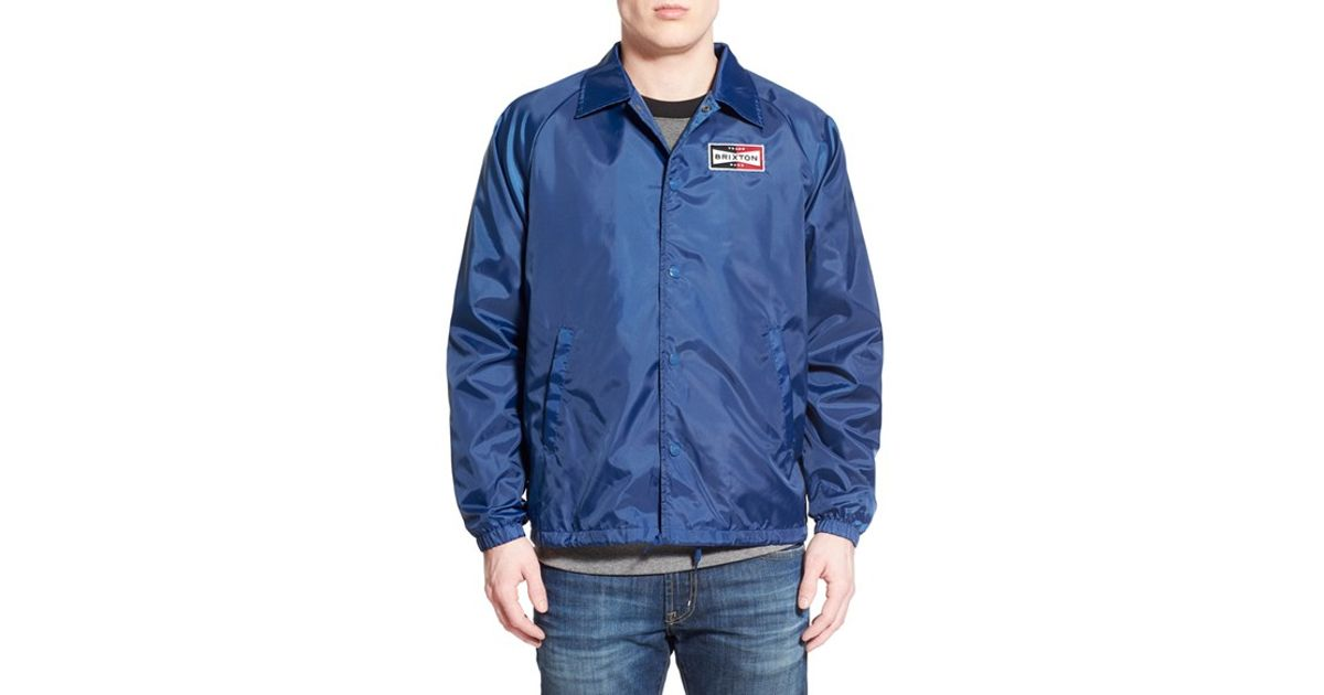 Lyst - Brixton  ramsey  Coated Coach Jacket in Blue for Men 26075aff2dd