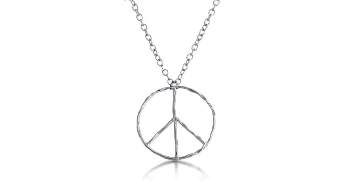 Lyst belcho large wrinkle texture peace symbol pendant necklace in lyst belcho large wrinkle texture peace symbol pendant necklace in metallic aloadofball Images