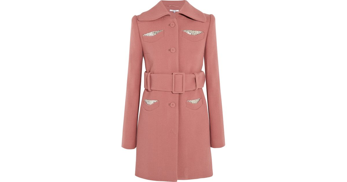 Carven Embellished Belted Wool-Crepe Coat in Pink | Lyst