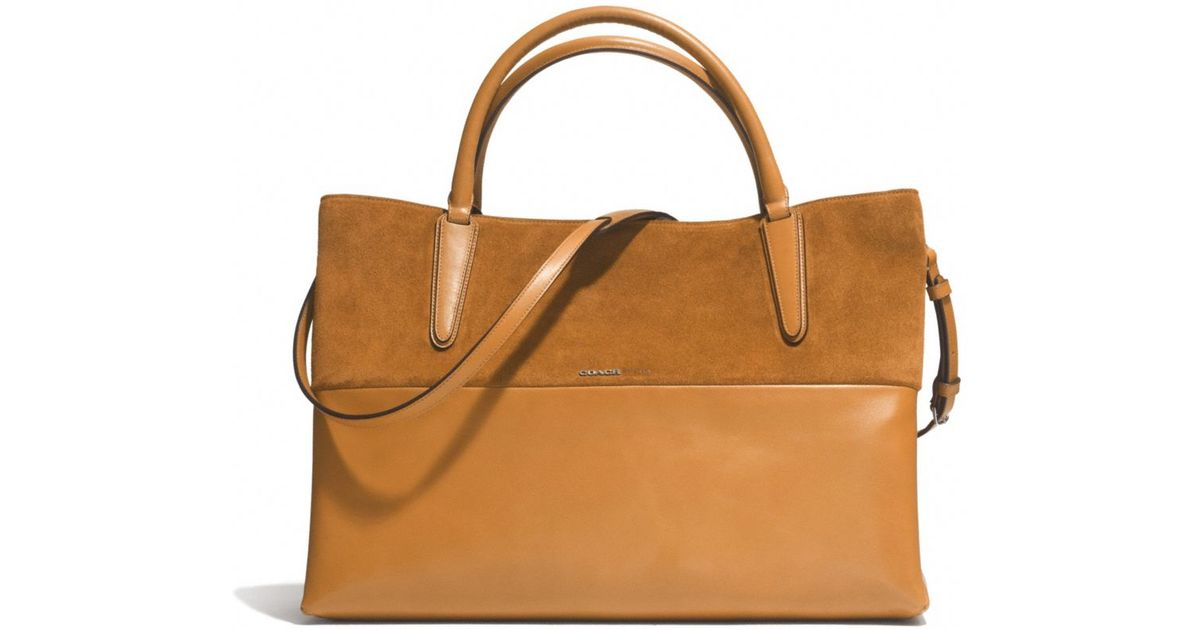 43a0ca5731 ... canada lyst coach large soft borough bag in retro glove tan leather and  suede in brown
