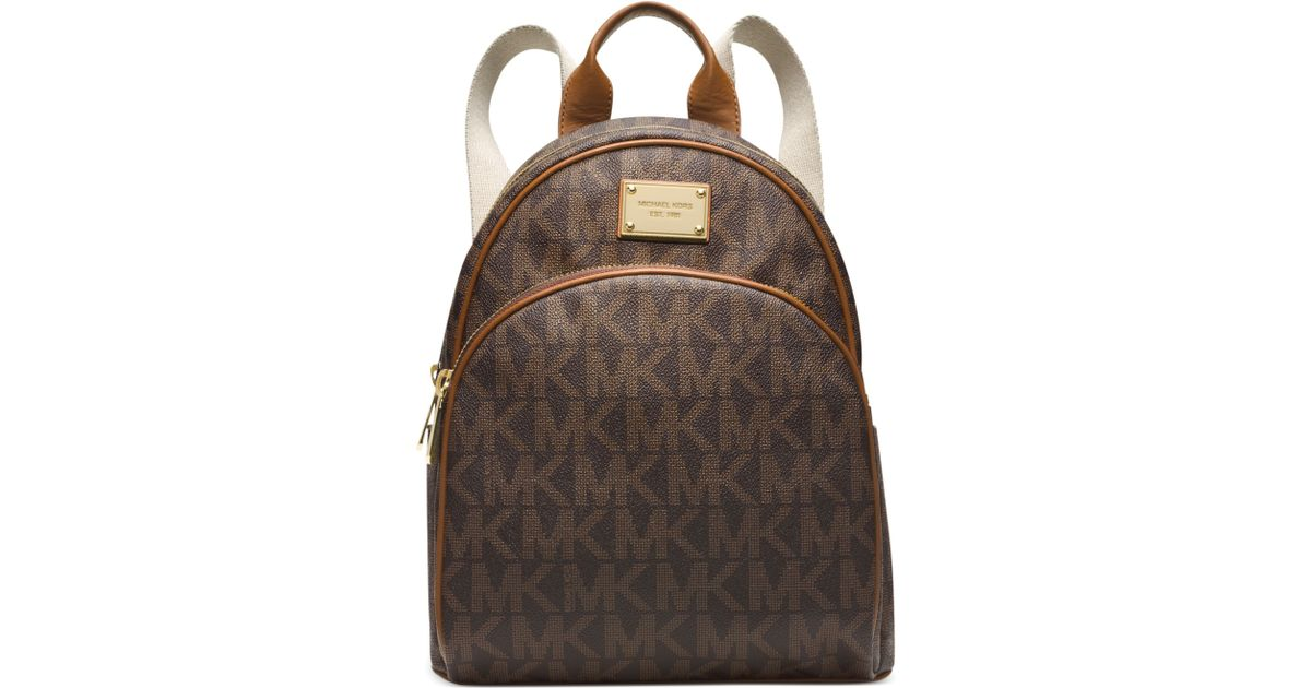 6e9e7ef64ce0c ... get lyst michael kors michael signature small backpack in brown 31382  caac5