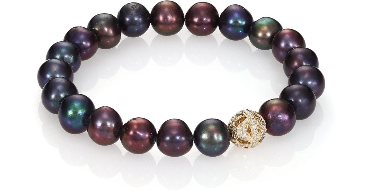 Sydney Evan Brown Potato Pearl Bracelet with Sapphire & Diamond Lotus Station 10aXx0B6u