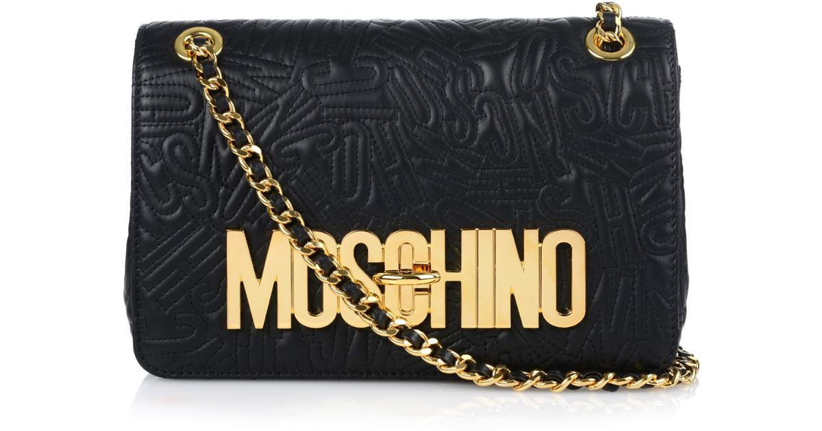 90509bf6f9 Moschino Letter-quilted Leather Shoulder Bag in Black - Lyst