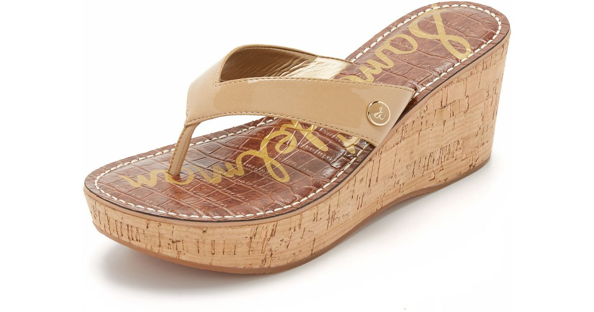 6c95a5180c9c Sam Edelman Romy Wedge Thong Sandals in Brown - Lyst