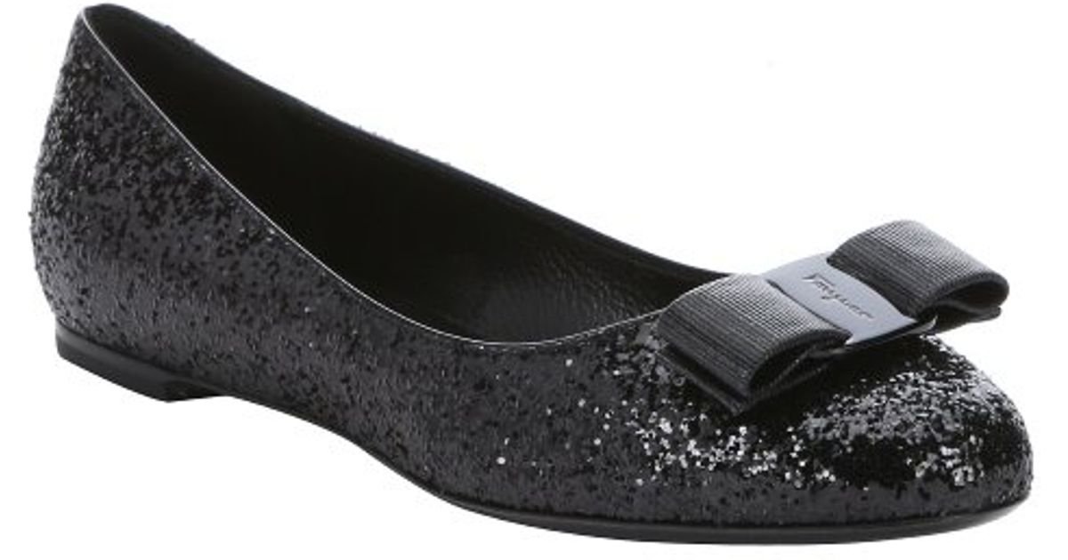3e21d2256de Ferragamo Black Glitter Fabric  varina G  Bow Detail Ballerina Flats in  Gray - Lyst
