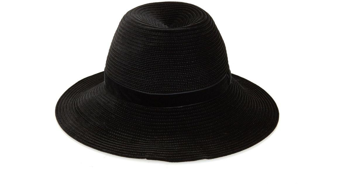 Lyst - Gigi Burris Millinery Constance Velvet-Braid Fedora Hat in Black 3ddc1600aa3