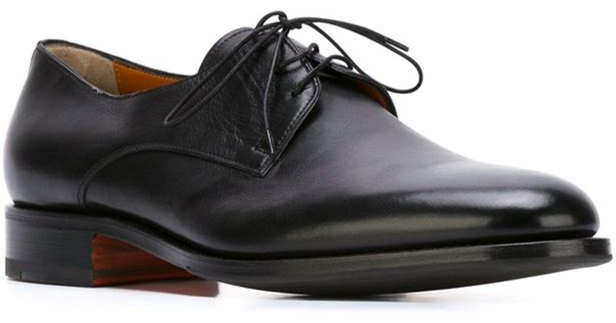 Santoni Black Classic Oxford Shoes For Men Lyst