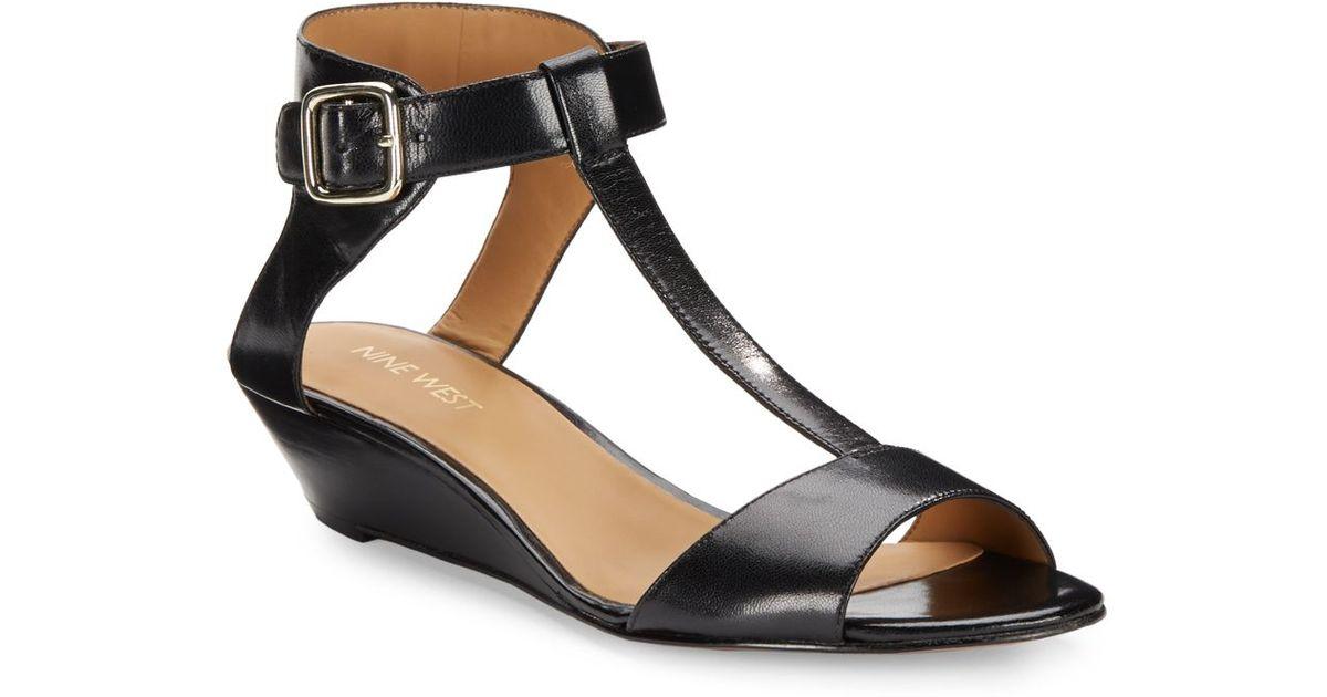 4e214b200ff Lyst - Nine West Verucha Leather Low Wedge Sandals in Black