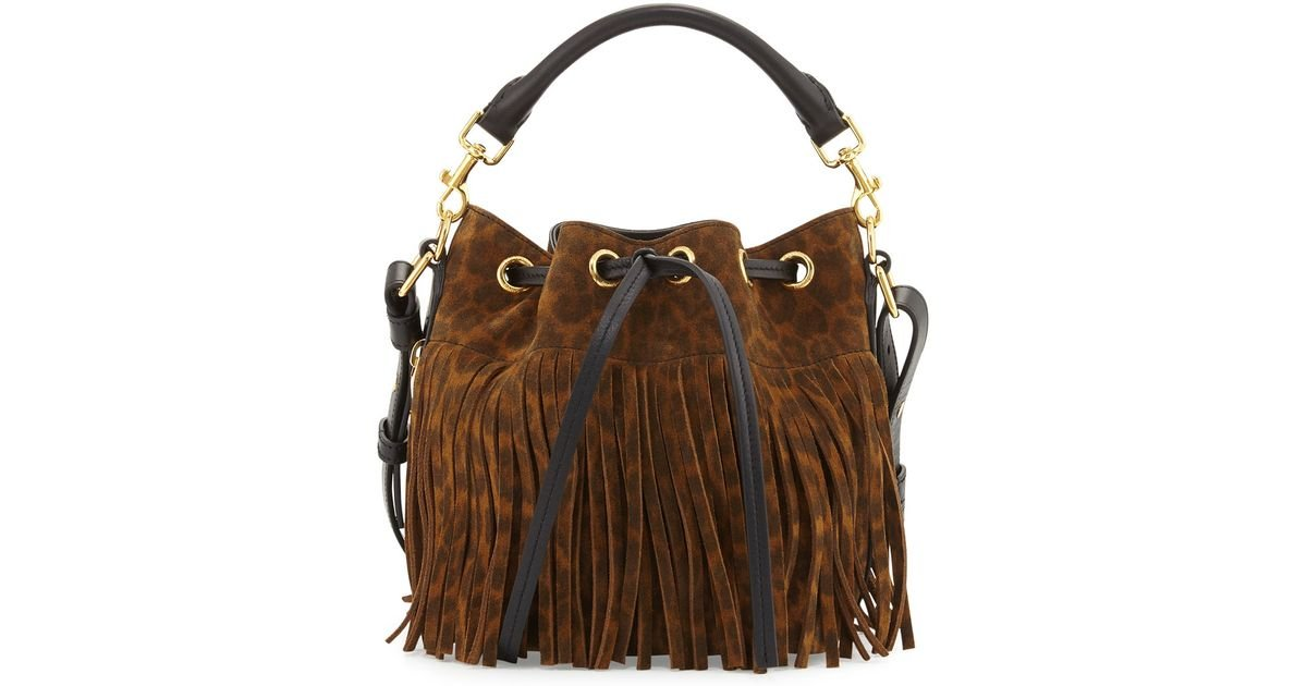 01e85cf11d Lyst - Saint Laurent Emmanuelle Suede Leopard-Print Fringe Bucket Bag in  Black