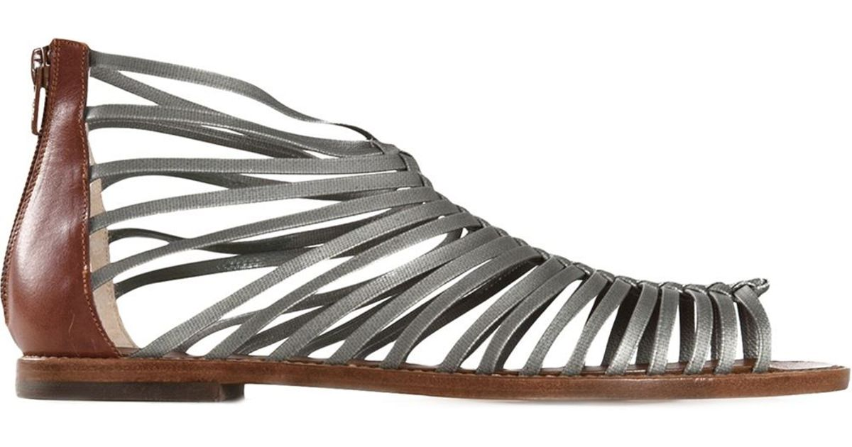 8d0aad8987f Lyst - Castaner Gladiator Leather Sandals in Gray