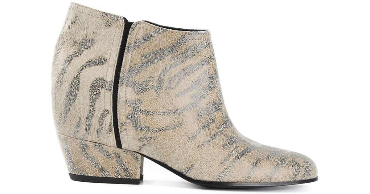 Golden goose deluxe brand Zebra Print Ankle Boots in Natural | Lyst