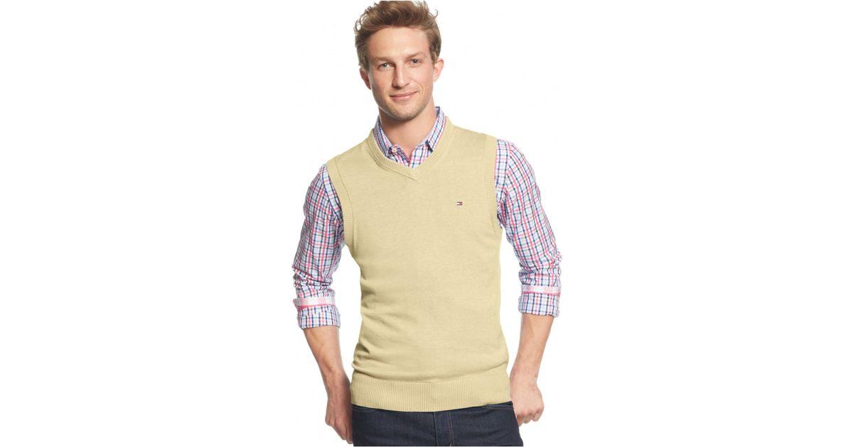 Tommy hilfiger Signature V-neck Sweater Vest in Natural for Men | Lyst