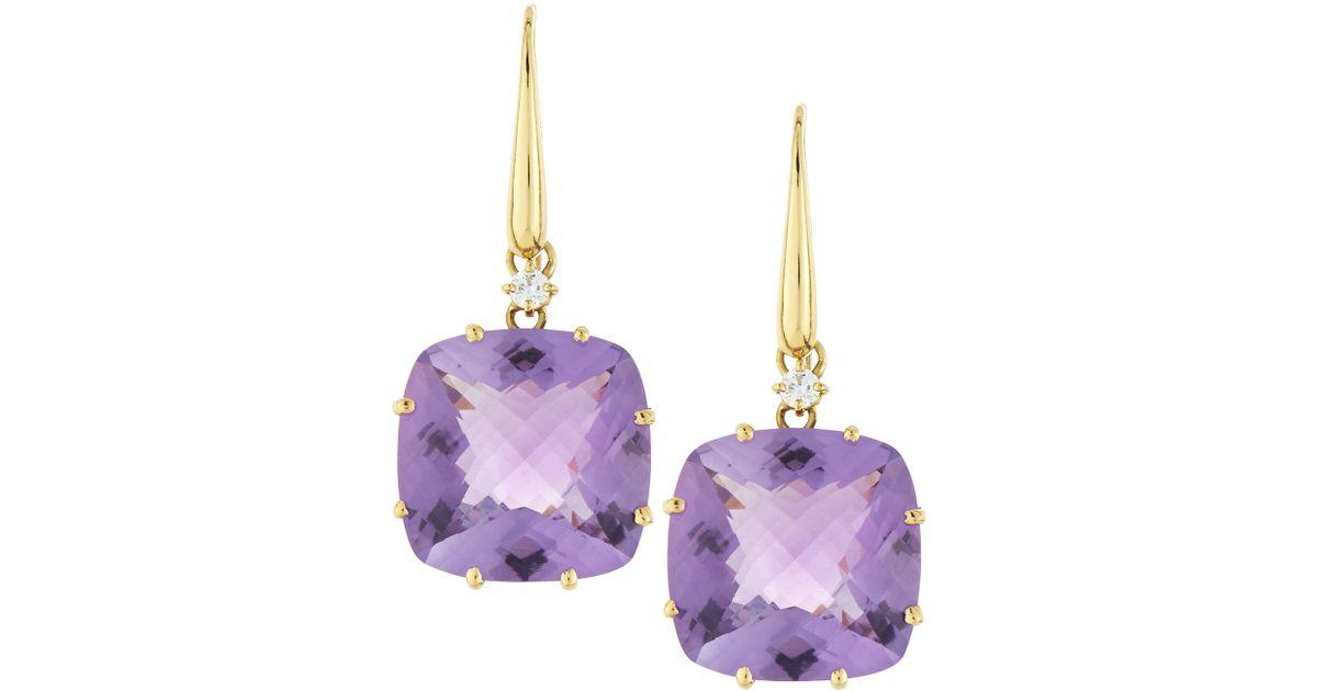 Lyst Roberto Coin 18k Gold Ipanema Diamond Square Amethyst Earrings In Purple