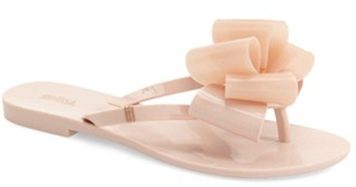b49d7417f34fbf Lyst - Melissa  harmonic Bow  Jelly Flip Flop in Pink