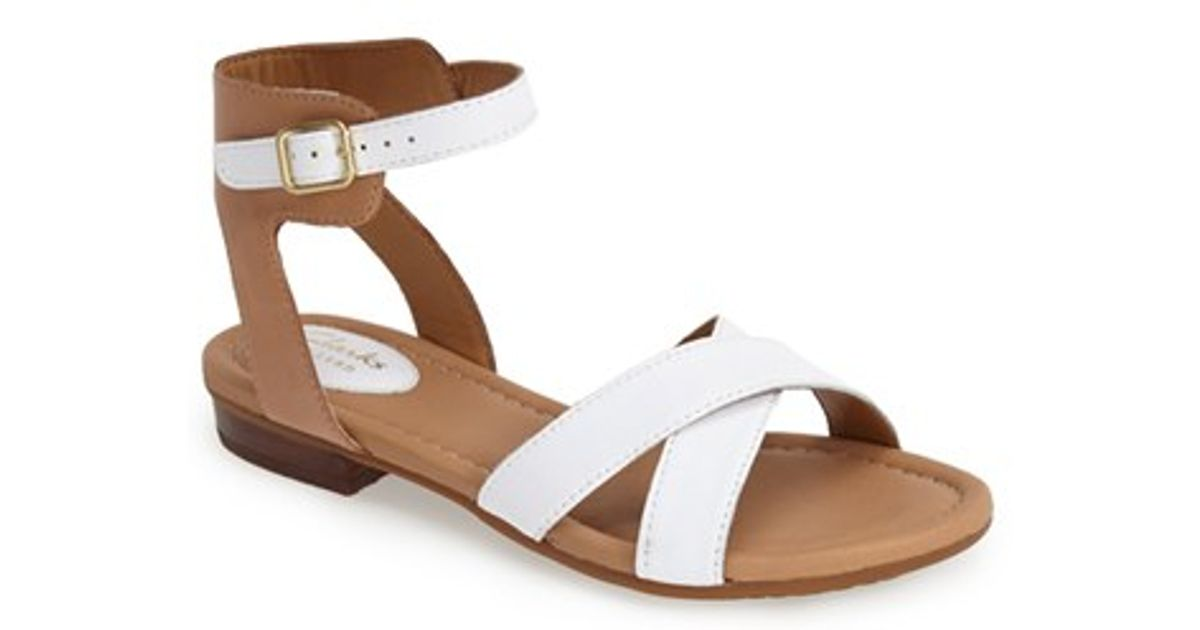 3a7454019844d6 Lyst - Clarks  viveca Zeal  Leather Ankle Strap Sandal in White