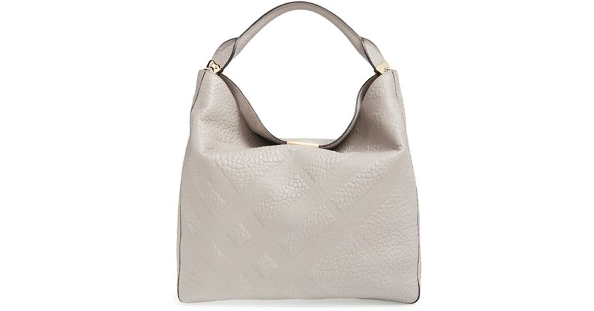03bc74417381 Lyst - Burberry  medium Lindburn  Check Embossed Leather Hobo in Gray