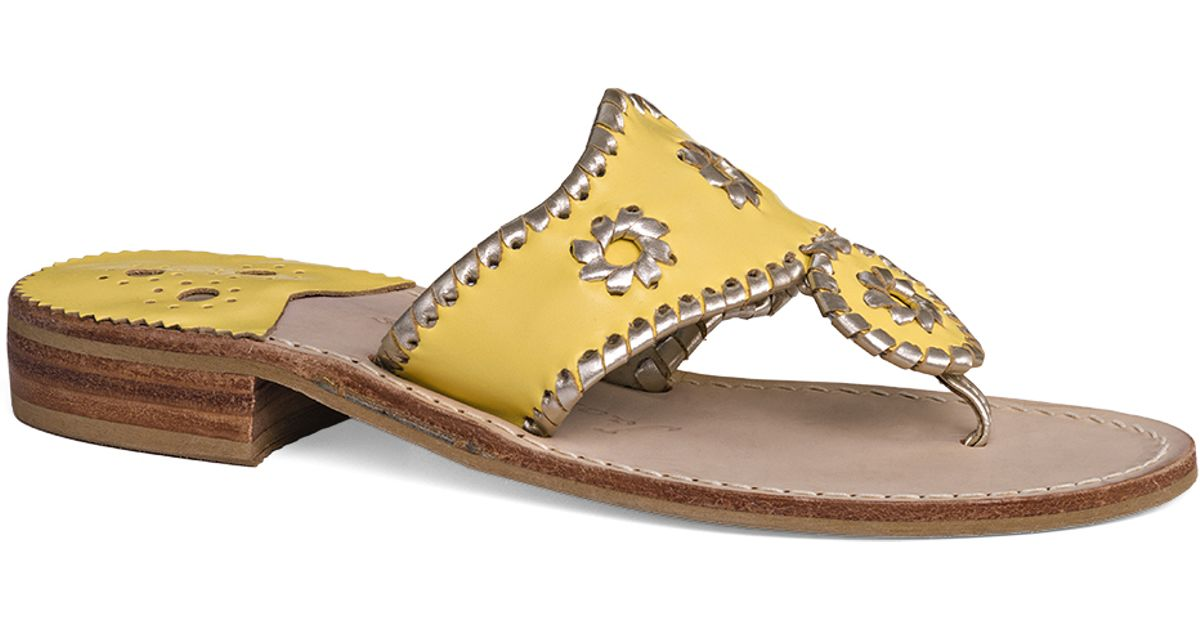 ee3c4342a6a9c6 Lyst - Jack Rogers Palm Beach Platinum Sandal in Yellow