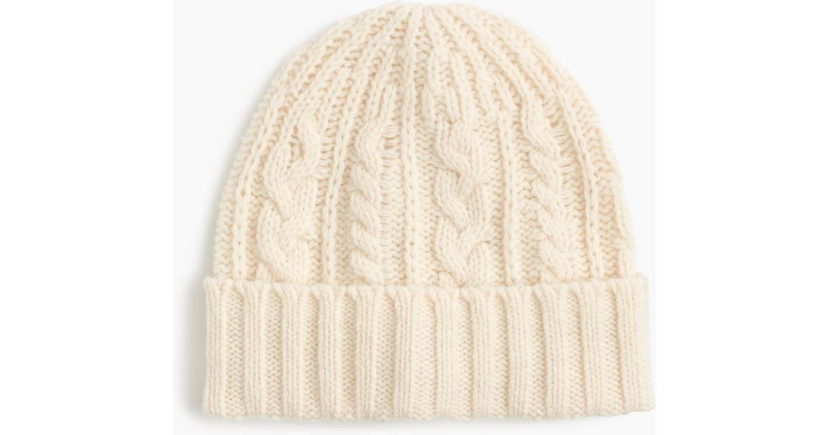 Lyst - J.Crew Lambswool Cable-knit Hat in White 87ea4ed5ec6