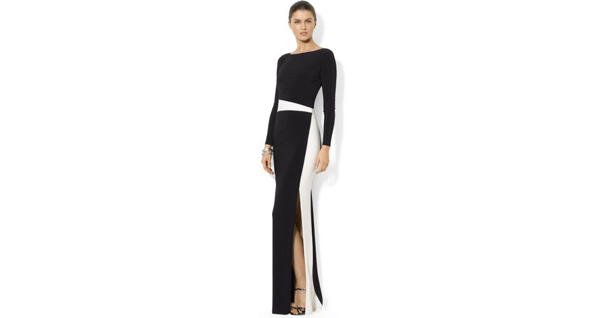 Lyst - Lauren By Ralph Lauren Petite Long-Sleeve Colorblocked Gown in Black