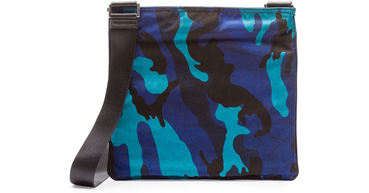 3b131d9c2a Lyst - Prada Tessuto Camo-Print Crossbody Bag in Blue for Men