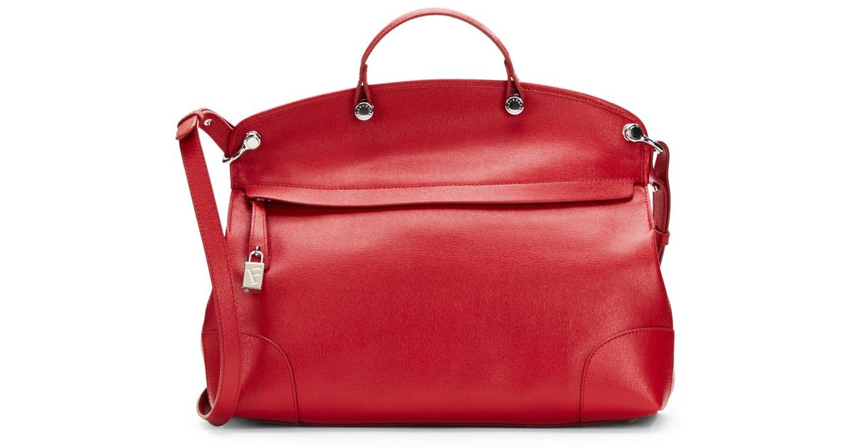 Furla Piper Top Handle Saffiano Leather Tote in Red | Lyst