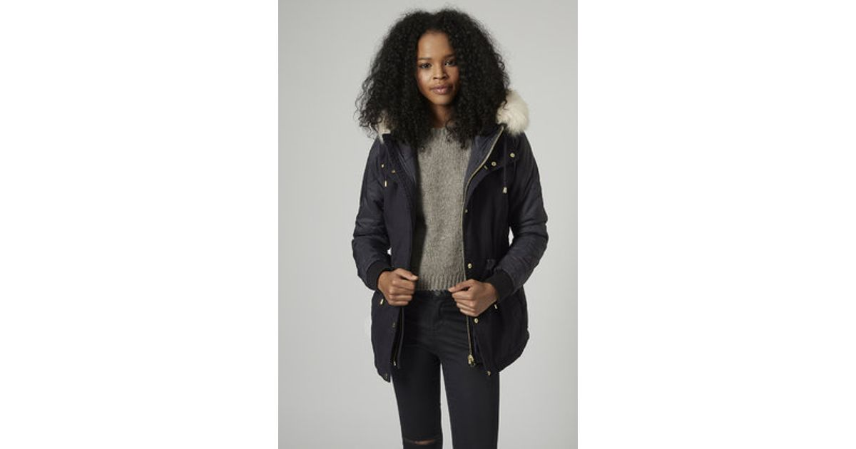 Topshop Quilted Short Parka Jacket in Blue | Lyst