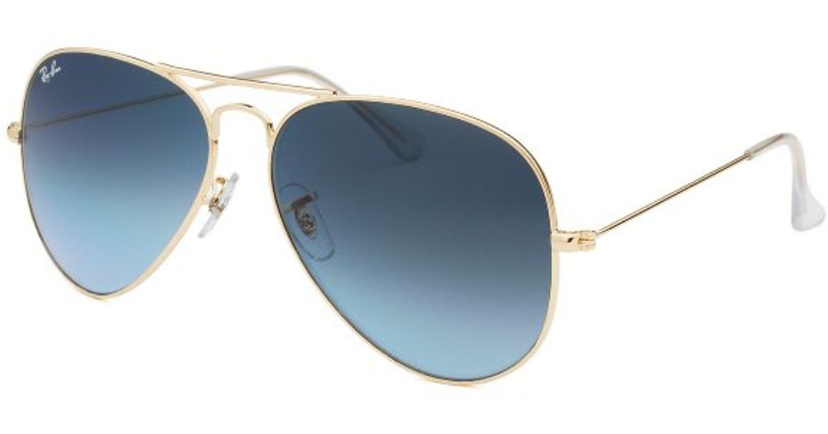 744796665c4f3 low cost lyst ray ban aviator classic gold tone sunglasses blue gradient  lenses in metallic for