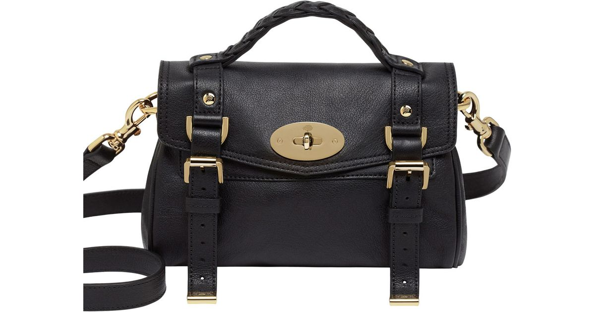 ... uk lyst mulberry mini alexa polished buffalo satchel in black e554a  1deb5 6d602a16a3ff6