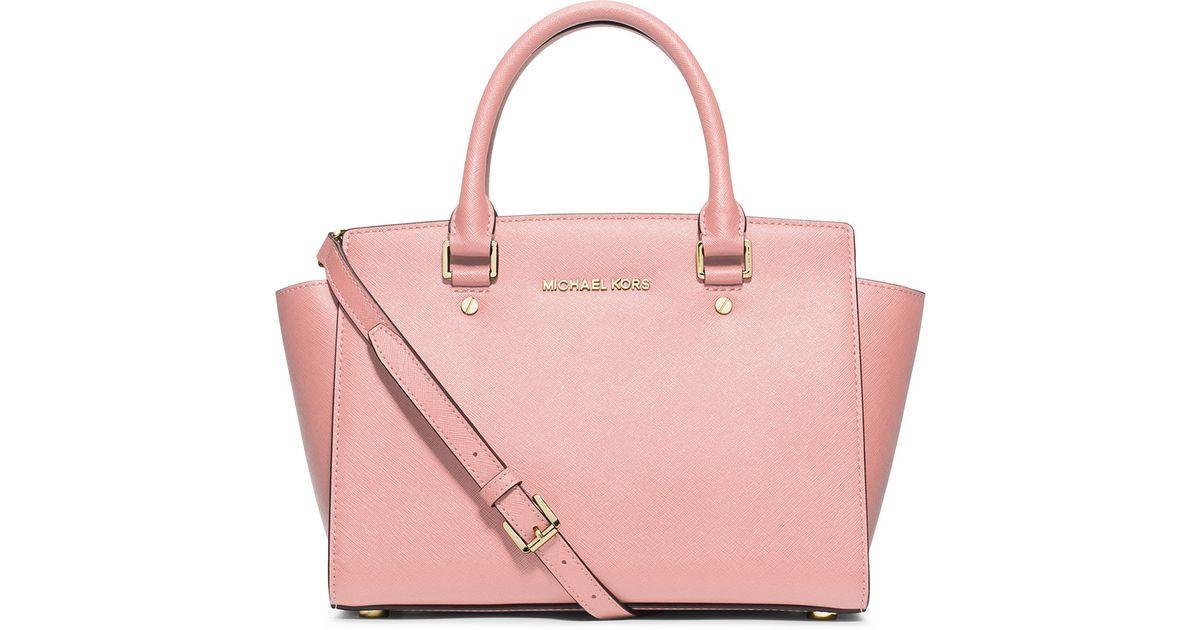 eff289c12a52 ... australia lyst michael michael kors selma medium top zip satchel bag in  pink 66395 ba809