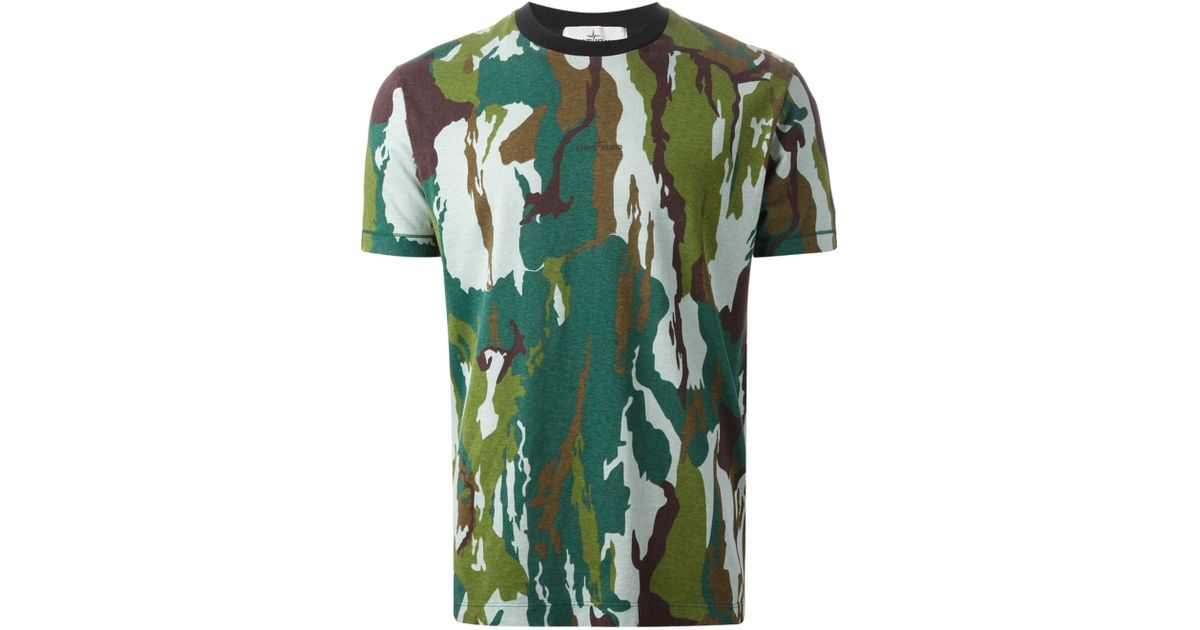 80be20f266055 Lyst - Stone Island Camouflage T-Shirt in Green for Men