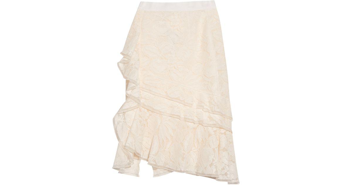 oscar de la renta ruffled lace pencil skirt in white lyst