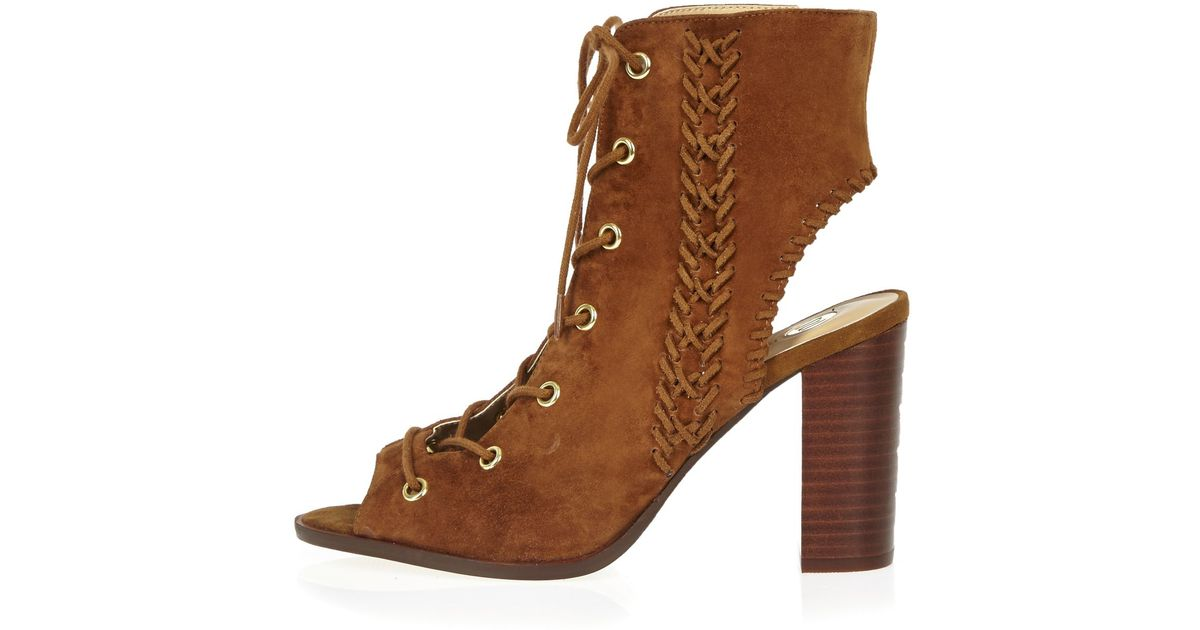 river island suede lace up heeled shoe boots in brown