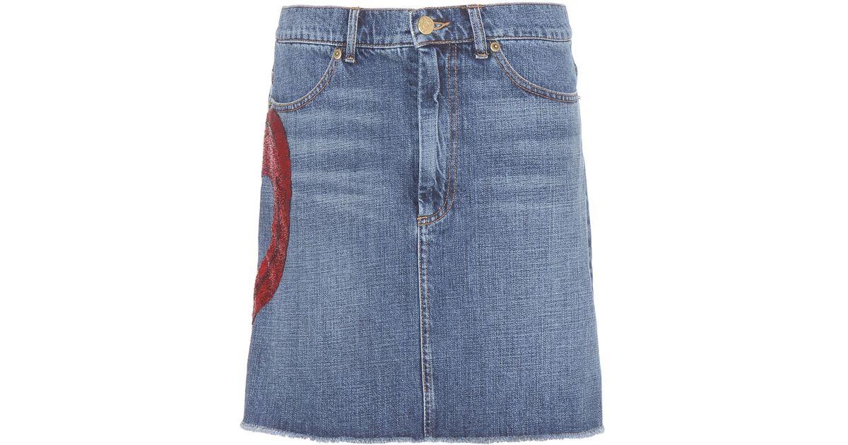 marc embellished denim skirt in blue lyst