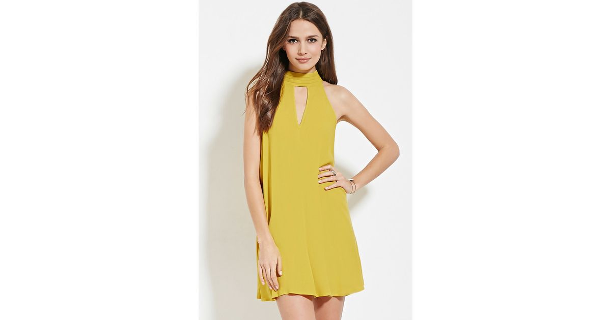 Forever 21 Contemporary Pintucked Dress in Yellow | Lyst