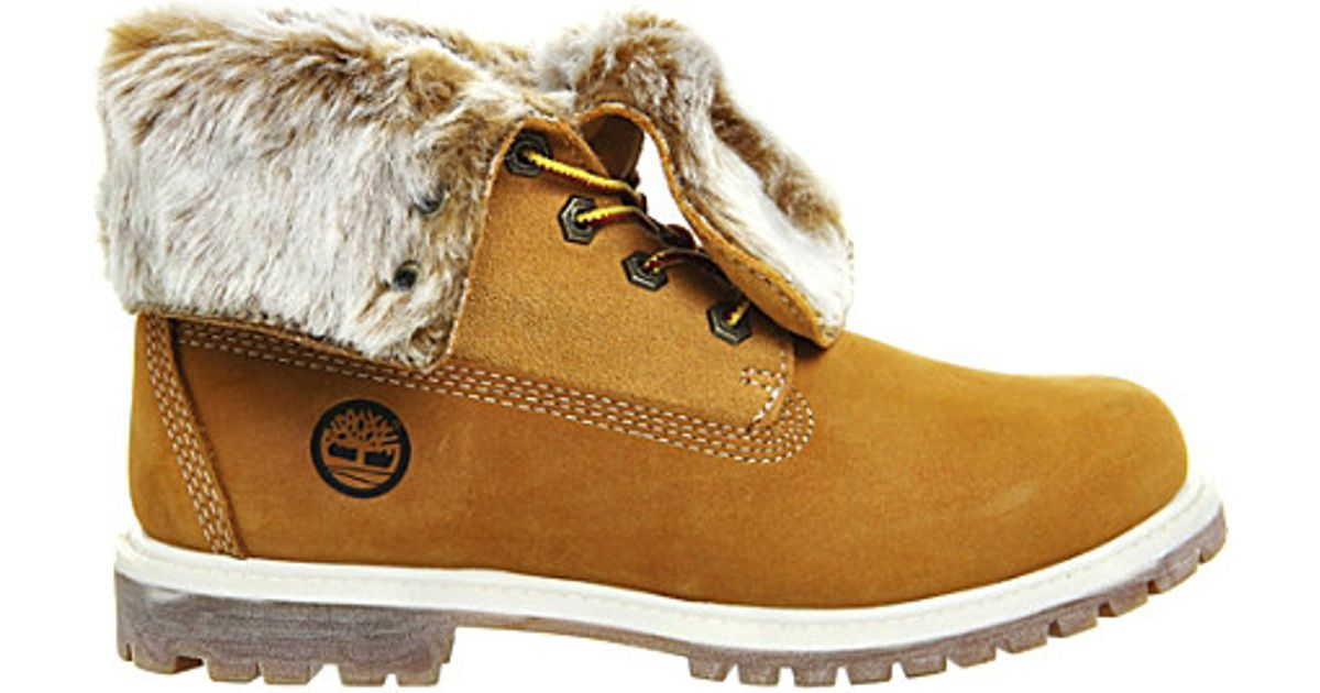 e07db6751a62 Lyst - Timberland Leather Faux-fur Fold-down Boots in Brown