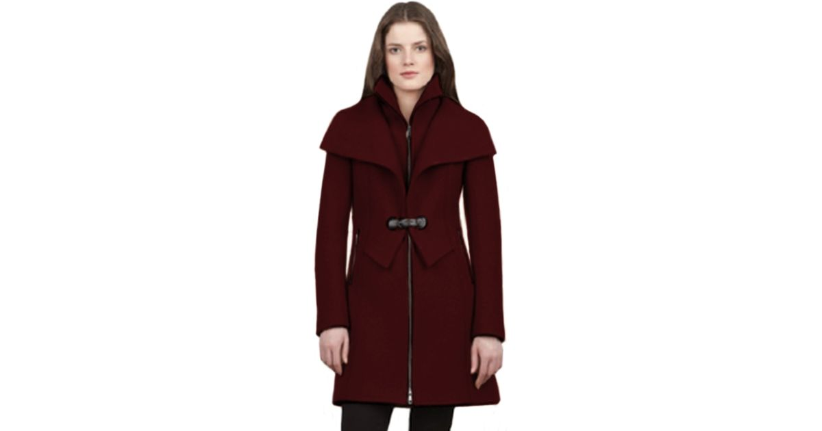 479b8b99690 Lyst - SOIA   KYO Soia Kyo Fiala Boiled Wool Classic Coat in Red