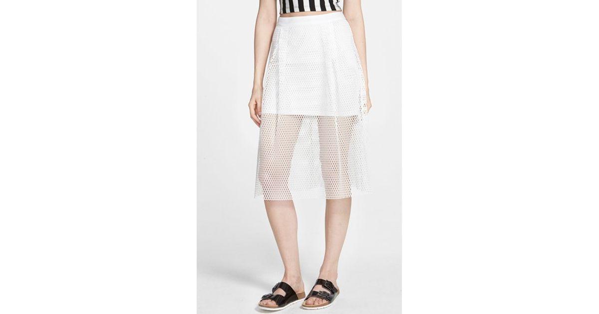 pepper mesh midi skirt in white lyst