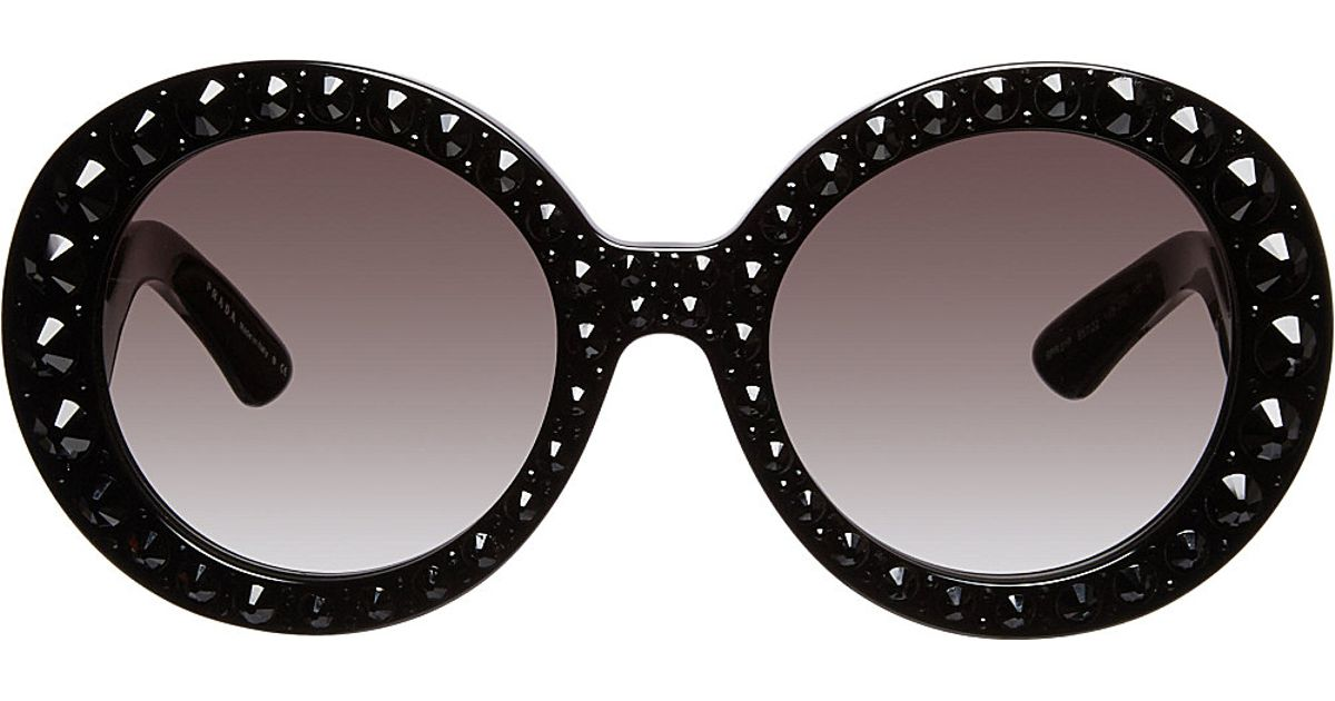 2c066b16110 Prada Round Baroque Ornate Sunglasses in Black - Lyst