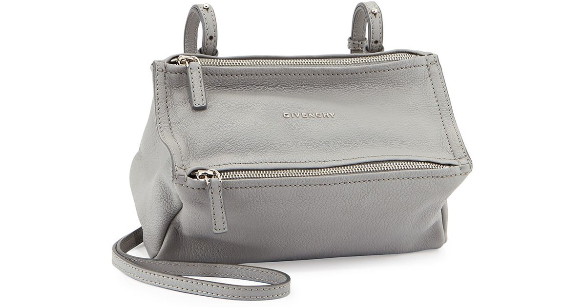 7f7dee47131 Givenchy Pandora Mini Grained-Leather Shoulder Bag in Gray - Lyst