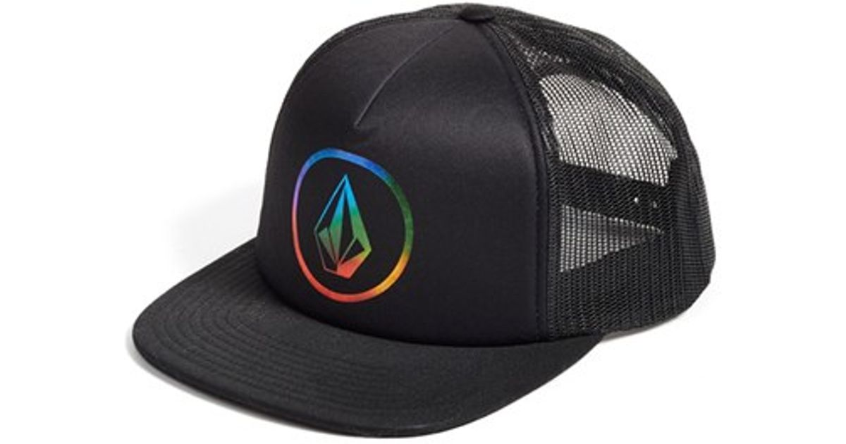 reputable site 50a75 6ba43 greece volcom multi tagurit multicolor trucker hat 3276c 27038  cheap lyst  volcom keep truckin trucker hat in black 2228d c6b9c