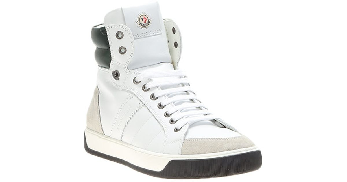 moncler white leather high top sneakers in yellow for