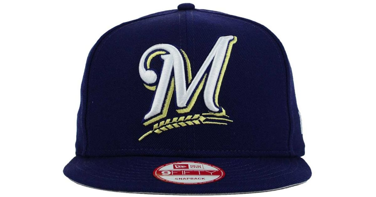 c446a4c857c Lyst - KTZ Milwaukee Brewers Biggie 9fifty Snapback Cap in Blue for Men