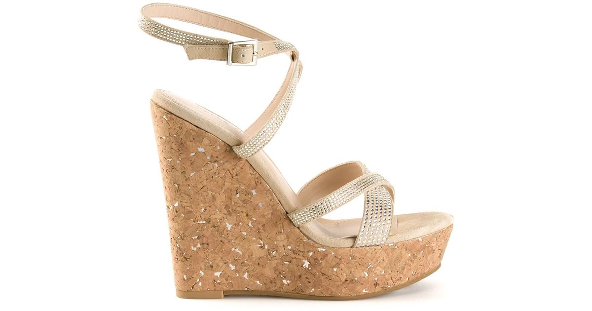 cea2ca2a2aa Lyst - Pelle Moda  Odin  Rhinestone Wedges in Natural