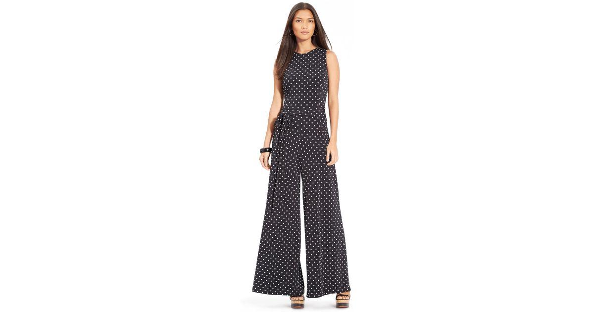 4f8942f6dfbc Lyst - Lauren by Ralph Lauren Petite Sleeveless Polka-Dot Jumpsuit in Gray