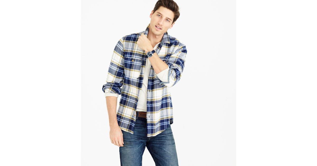76eab86dead0d Lyst - J.Crew Wallace   Barnes Heavyweight Flannel In Classic Blue Plaid in  Blue for Men