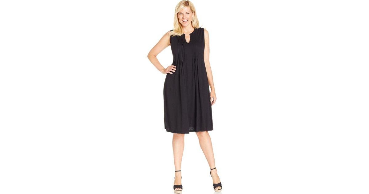 Jones New York - Black Signature Plus Size Pintucked Dress - Lyst