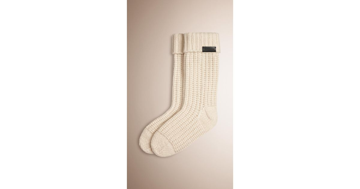 Knitting Pattern For Cashmere Socks : Burberry Knitted Cashmere Socks in Natural for Men Lyst