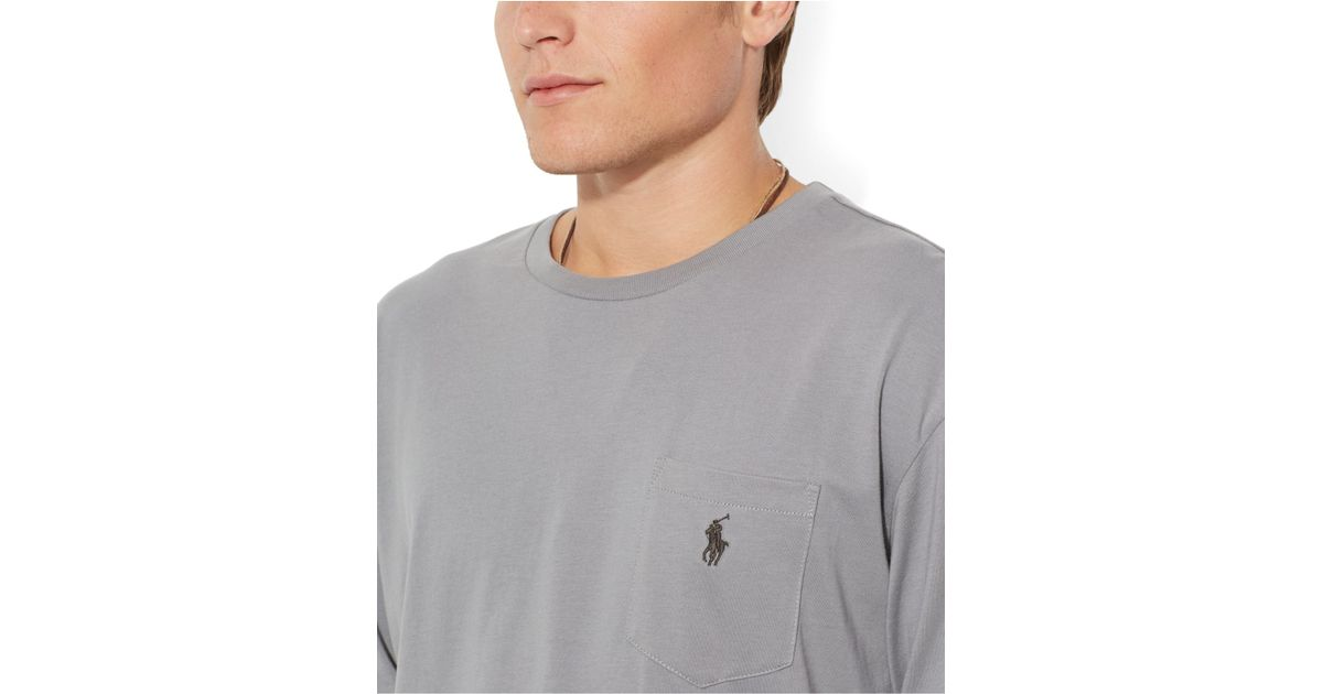 233e949c85223 Polo Ralph Lauren Classic-Fit Long-Sleeved Jersey Pocket Crew-Neck T-Shirt  in Gray for Men - Lyst