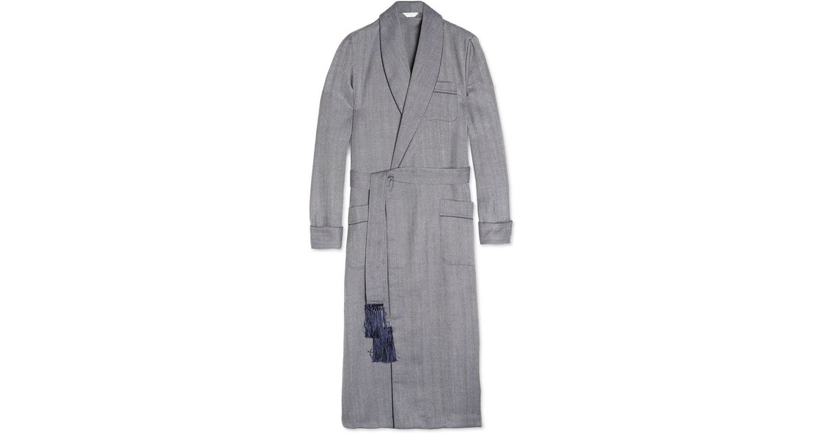 Lyst - Derek Rose Lincoln Herringbone Wool Dressing Gown in Blue for Men